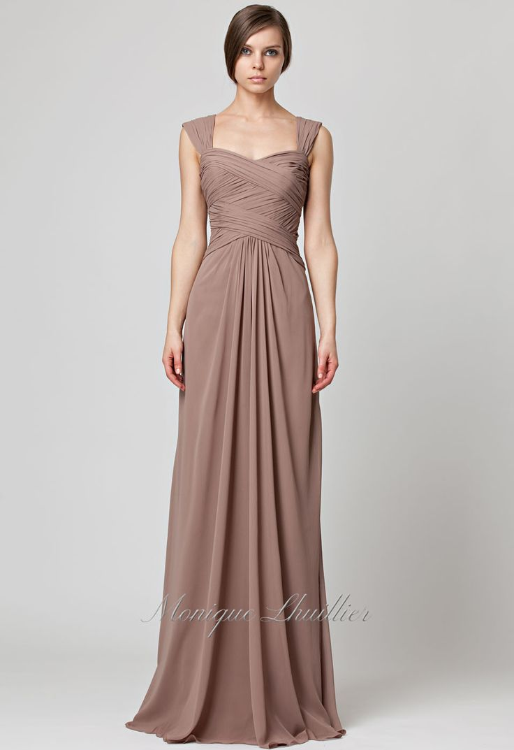 61 best bridesmaids images on pinterest bridesmaids convertible bridesmaids monique lhuillier latte long chiffon gown with cap sleeves and crisscross draping on center ombrellifo Image collections