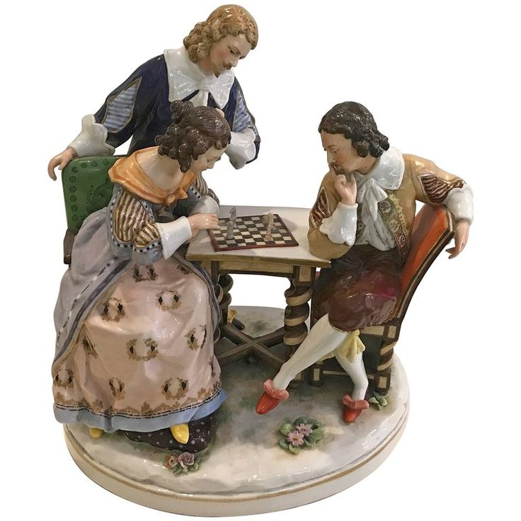 German Porcelain Triple Figure of Aristocrats Playing Chess circa 1910 | 1stdibs.com