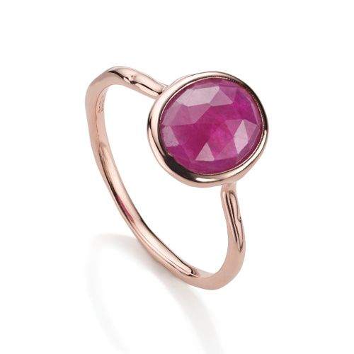 Rose Gold Vermeil Riva Stacking Ring - Ruby - Monica Vinader