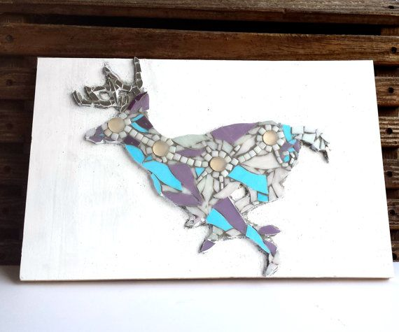 Deer Home Decor Mosaic Wall Art. Whimsical by SamahStudios on Etsy