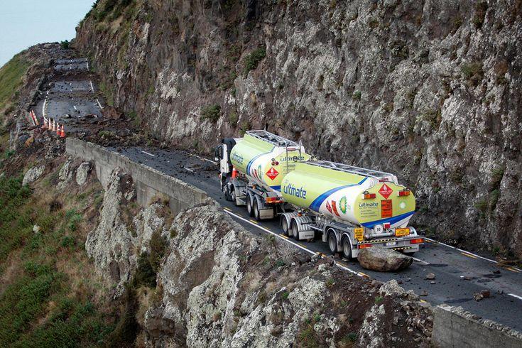 Pull over? Dispatch, you gotta be kidding me. - CHRISTCHURCH NEW ZEALAND EARTHQUAKE DANGERS - TANDEM FUEL TRUCK STUCK ON DANGEROUS ROAD AMONG ROCK SLIDES