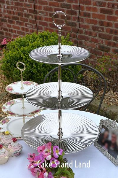 Giant Silver Colour Metal New 3 Tier Cake Stand 3 Tier
