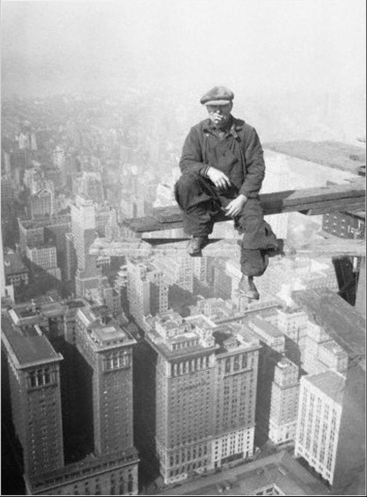 """Break time atop the Chrysler Building Oct. 1929"""