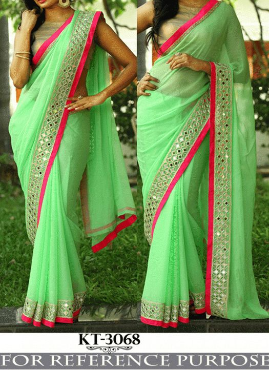 Fabfirki New Light Green Georgette Designer Party Wear Saree