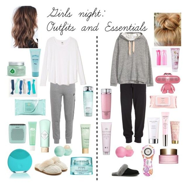 """""""Girls night: Outfits and Essentials"""" by jelenaj-1 on Polyvore featuring NIKE, Donna Karan, H&M, UGG Australia, Eos, Clarisonic, Guerlain, Benefit, Clarins and Christian Dior"""