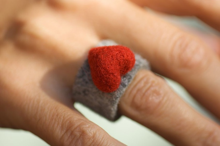 sweet Felted Heart Ring