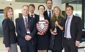 1st place winners: Anglia Ruskin University (Ashcroft International Business School): Team members are: David Grunbaum, Pia Dewenter, Stefan Ewald, Anna Mowka and Matthias Pust. Their lecturers are Allison Beaumont (left) and Dr Robert Jones (second left). The team represented the Berlin School of Economics and Law.