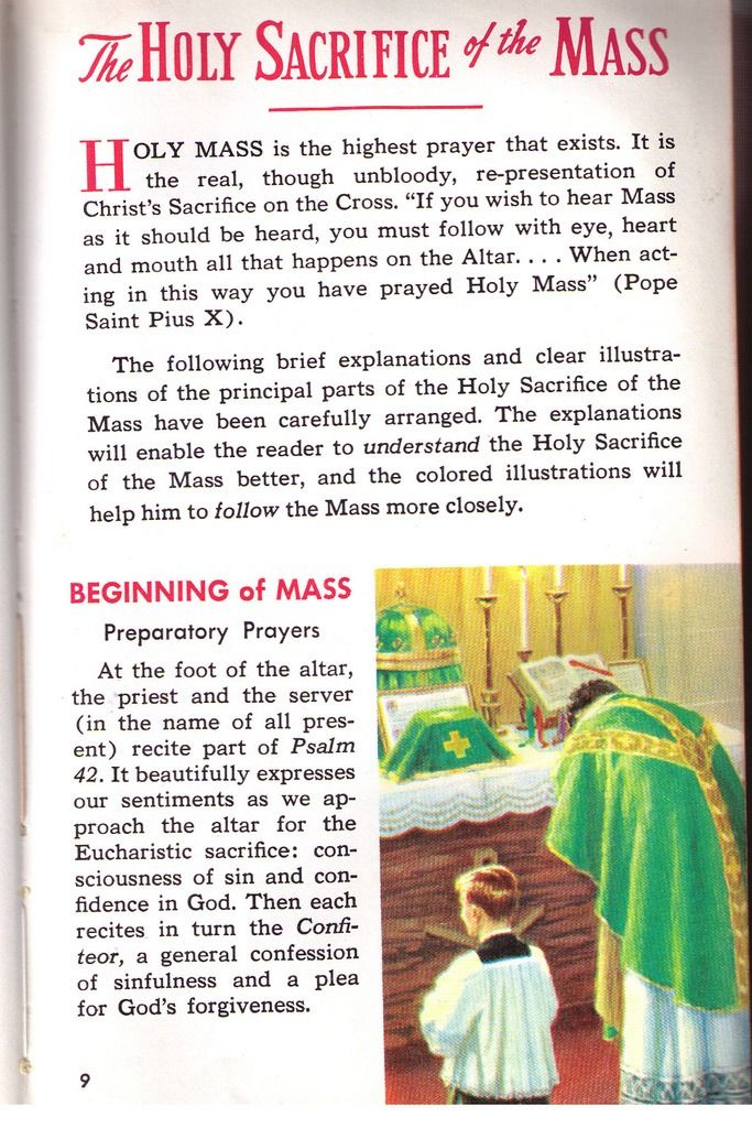 The first post of some instructions on Holy Mass scanned from an old St. Joseph's Missal.