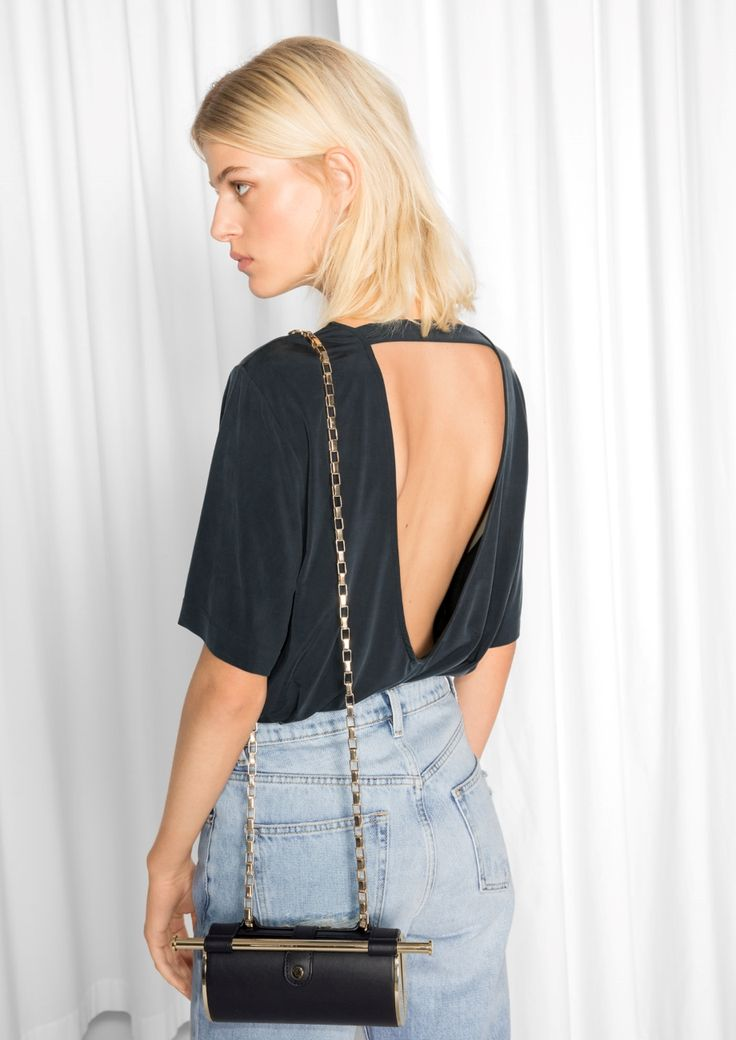 & Other Stories image 2 of Open Back Cupro Top  in Black