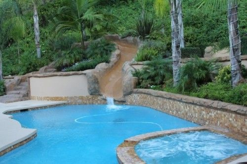 Sliding Retaining Wall : Pool slide retaining wall on hill back yard