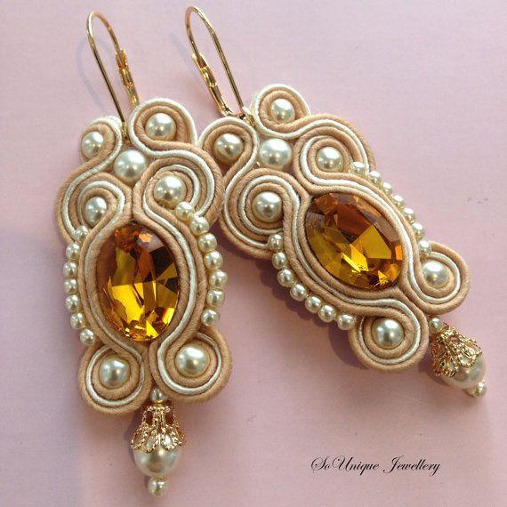 Gorgeous and elegant beige soutache earrings by SouniqueJewellery, £15.00