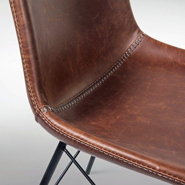 Industrial Lederstuhl Pro A  #lederstuhl #esszimmerstuhl #industrial #design #retro #vintage #schalenstuhl #leather #diningchair #baseballstiches #fabrikschick