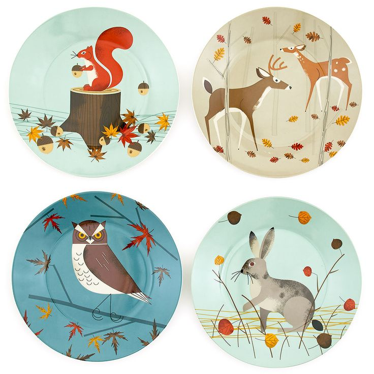 Forest friends side plates, set of four