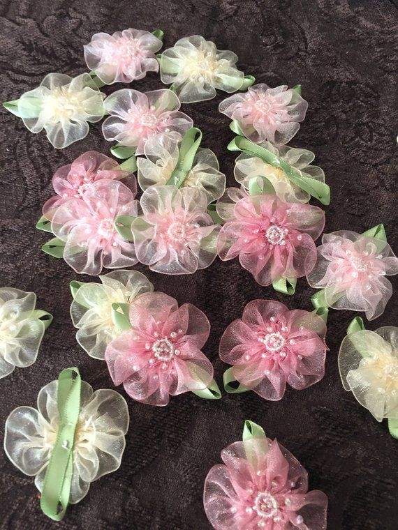 10 RIBBON BOWS with FLOWER Pink .