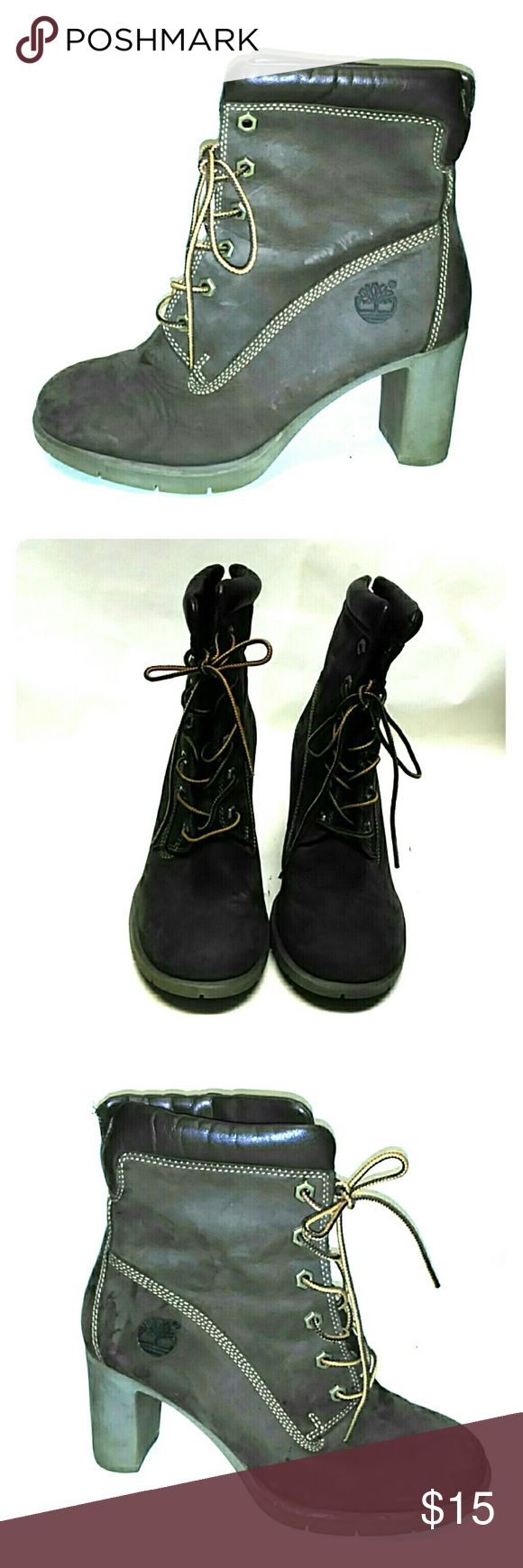 Timberland Women's Brown Heels Boots Lace Up Very cute some scuffs pictured Timberland Shoes Heeled Boots