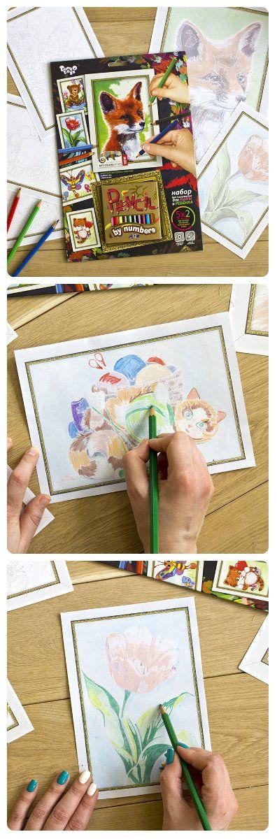 Раскраска по номерам карандашами «Лисенок». PENCIL BY NUMBERS — рисование контурных заготовок по номерам. В комплекте есть на выбор картины разного уровня сложности для детей от 3-х лет и старше, а также сложные рисунки. В НАБОРЕ ЕСТЬ КАРАНДАШИ!
