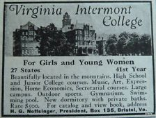 Virginia Intermont Womens College Prep School Education 1920s ORIGINAL PRINT AD