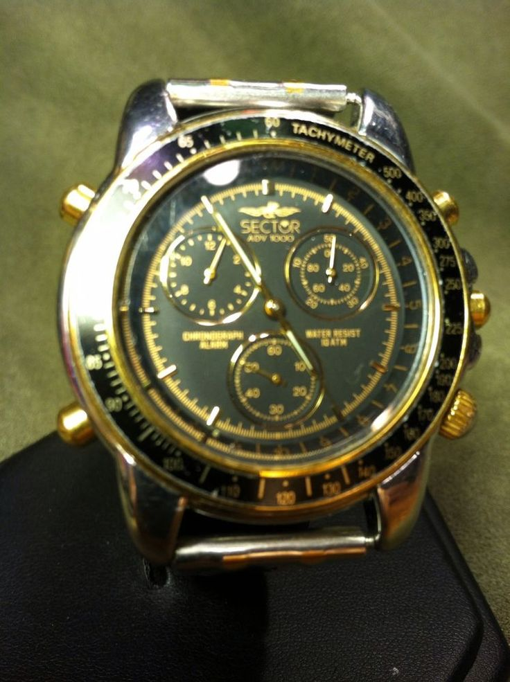 Sector ADV 1000 Chronograph, Tachymeter Two Tone, Black and Gold Watch  #Sector STARTING AT $59.99 RETAIL $200.00 Auction ends in