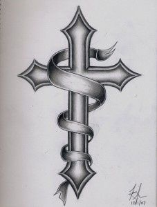 cross tattoos and put the date in the ribbon