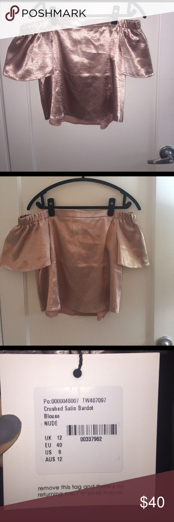 NWT! Bardot crushed satin Off-the-shoulder top 🌟 NWT!! 🌟🌟 crushed satin Bardot off the shoulder shirt in blush/nude. Stunning!! All offers are considered and I offer a bundle discount if you purchase more than one item 😘 Missguided Tops