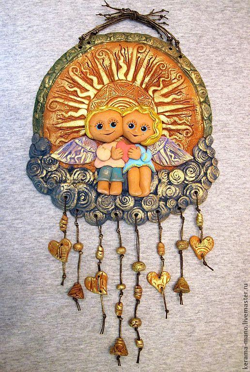 """Символизм ручной работы. Ярмарка Мастеров - ручная работа. Купить """"Заоблачное счастье""""- Панно. Handmade. Золотой, облака, панно на стену"""