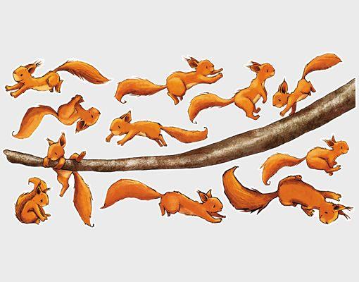 WandTattoo Eichhörnchen, halt dich fest! Sticker Set Kinder Zimmer Aufkleber | eBay