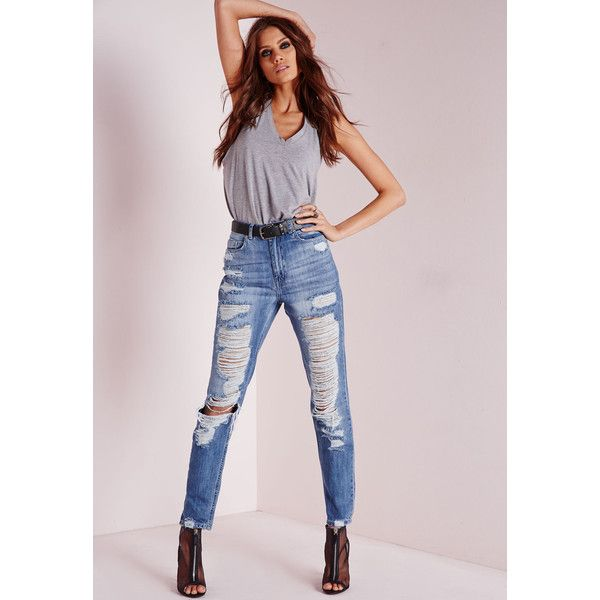 Missguided High Rise Extreme Rip Mom Jeans Antique ($56) ❤ liked on Polyvore featuring jeans, blue, ripped jeans, distressed skinny jeans, skinny jeans, high-waisted jeans and ripped skinny jeans