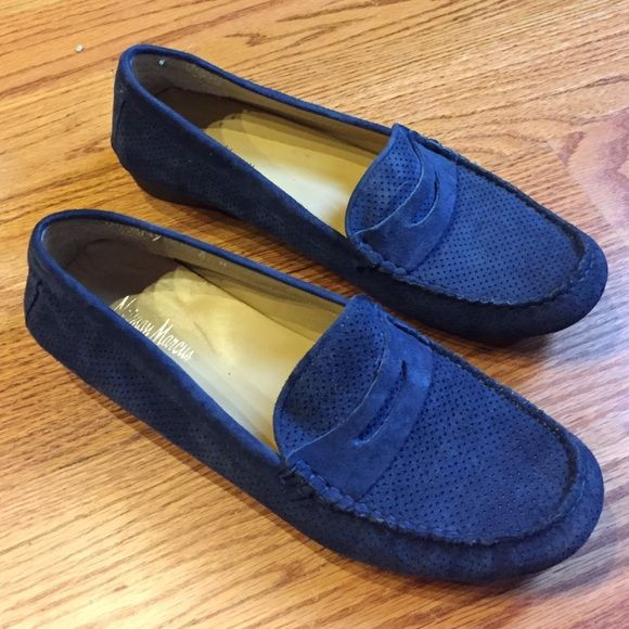 Niemen Marcus blue suede loafers Worn once. Neiman Marcus Shoes Flats & Loafers