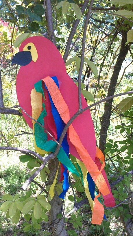 Parrot - made with construction paper & streamers.