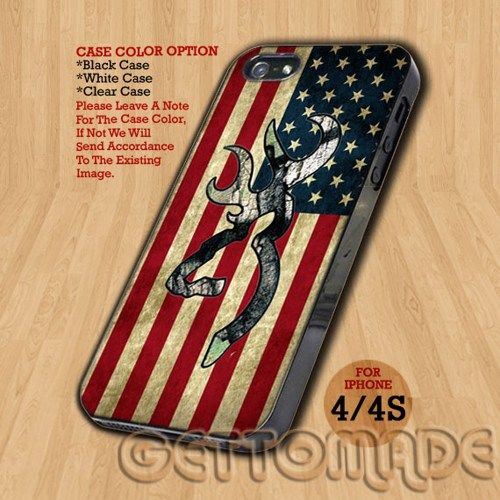 Camo Browning American Flag - Print On Hard Case iPhone 4/4S Case