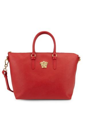 VERSACE Textured Zipped Tote. #versace #bags #shoulder bags #hand bags #tote #crystal #