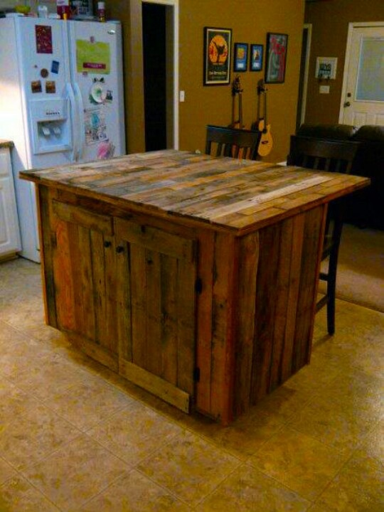 Kitchen island made from pallets