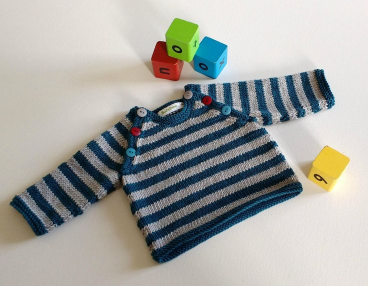 This sweater fits the bill for a simple, modern jumper that's easy to wear. Mismatched buttons along the raglans make dressing easy. If stripes are not your thing then it looks cute either in a plain colour with contrasting borders or totally one colour. Swap the shades to more girlie ones and you have a jumper that will suit a little girlie too.