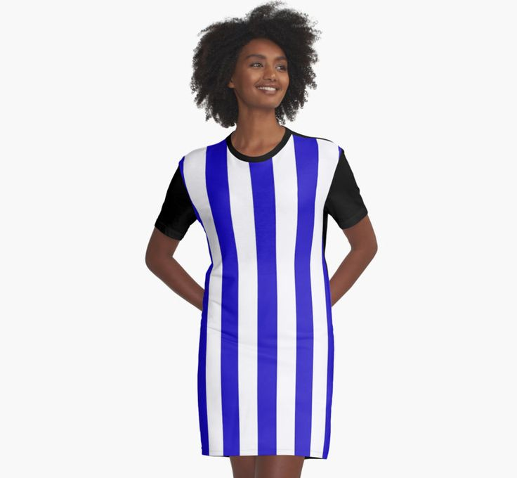 Deep blue marine stripes pattern, vertical lines by cool-shirts