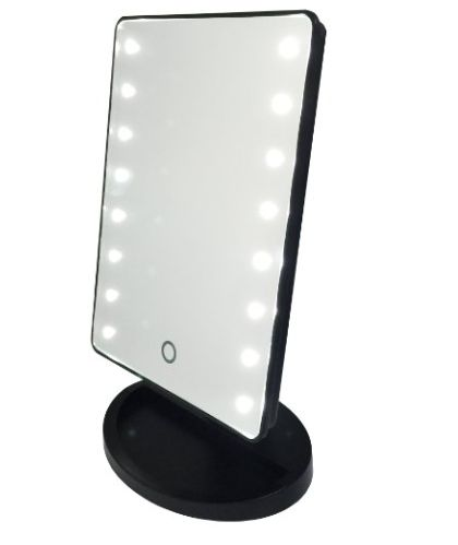 This adorable mini vanity mirror features a touch screen, LED lights, and a removable magnified mirror. Compact, easy to travel with, and fits perfect on your bathroom counter or vanity. DIMENSIONS: M