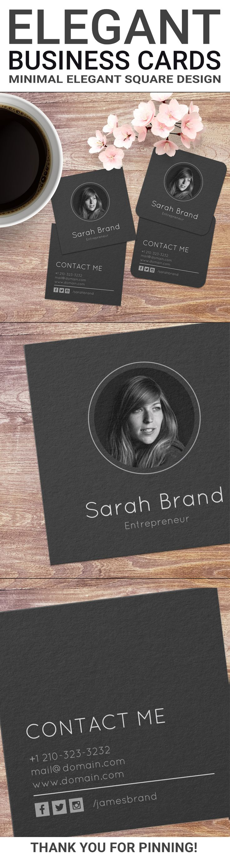 """Elegant minimalist dark business cards with your personal photo. The square 2.5"""" x 2.5"""" shape of card ensures the focus is on your photo, name and contact information. This minimalist design is ideal for one person businesses, entrepreneurs, developers or real estate agents to only name a few. Elegant square business cards by J32 Design"""