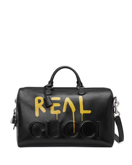 0c9e3503e50ed7 GUCCI Guccighost Leather Duffle Bag, Black. #gucci #bags #shoulder bags  #hand bags #lace #suede #lining #