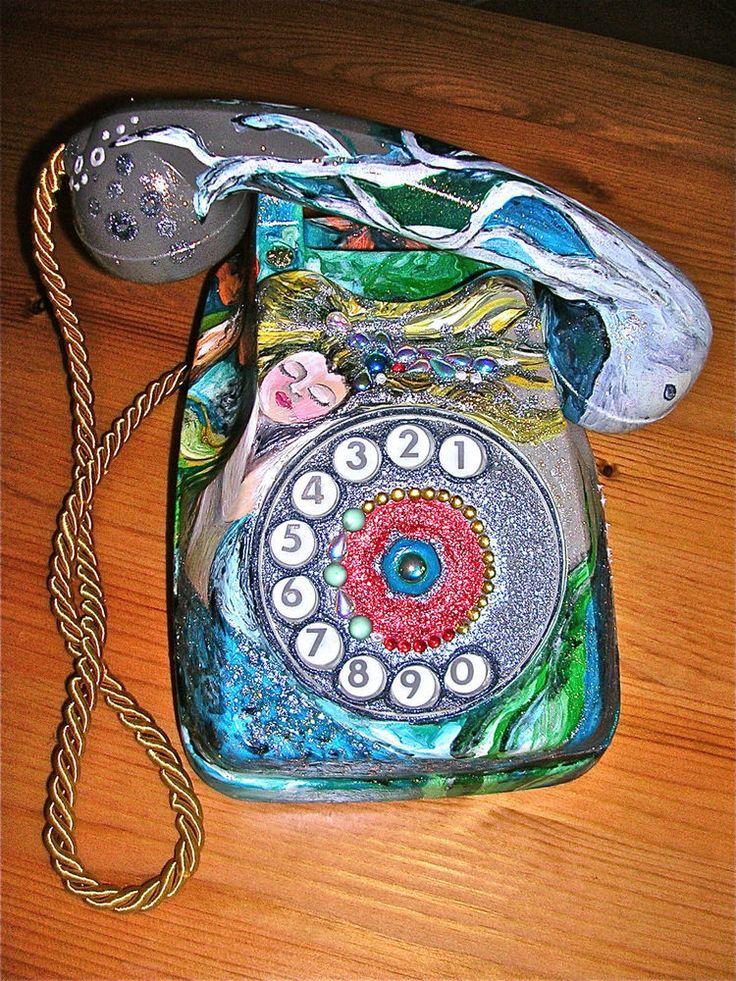 TELEFONO+IN+BACHELITE+DIPINTO+A+MANO