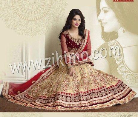 Ambaji Heavy Golden Net Indian Bridal lehenga With Gota Work Maroon velvet Choli at Zikimo 2009