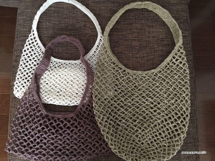 【編み図】ネット編みのストックバッグ – かぎ針編みの無料編み図 Atelier *mati*