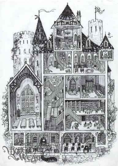 (And yes I know it's not architecturally correct :P)  -  Hogwarts cross-section daigram, Bohemian Weasel  --   Hogwarts cross-section by Soni Alcorn-Hender!    1