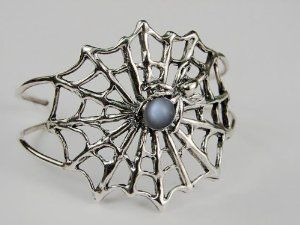 An Impressive Sterling Silver Spider Web Bracelet Accented with Genuine Grey Moonstone Silver Dragon-Bracelets. $190.00