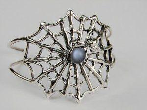 An Impressive Sterling Silver Spider Web Bracelet Accented with Genuine Grey Moonstone Silver Dragon-Bracelets. $190.00