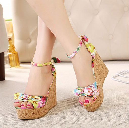 Red Summer Floral Wedges With Bow