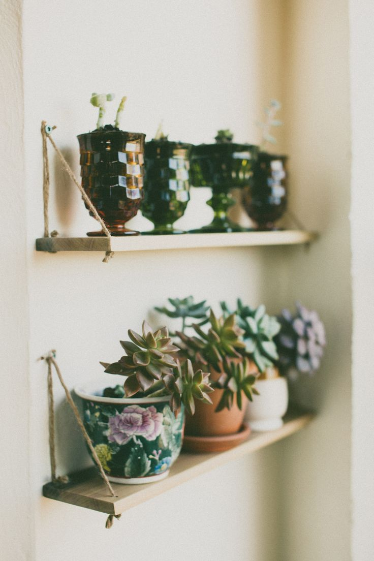 rope shelf for our succulents!