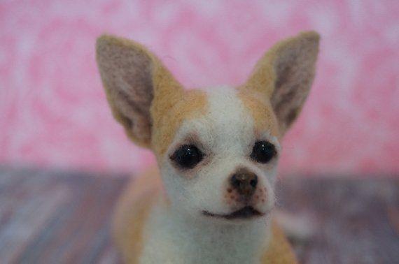 Chihuahua Needle Felted Animal Felt Dog Chihuahua Ornament Tiny
