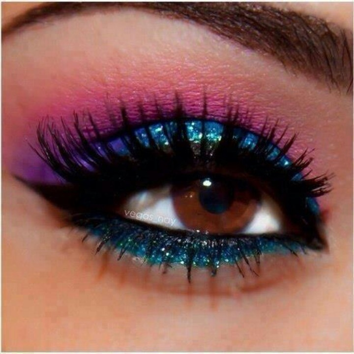 This was so me back then...pink shadow and blue eyeliner!!