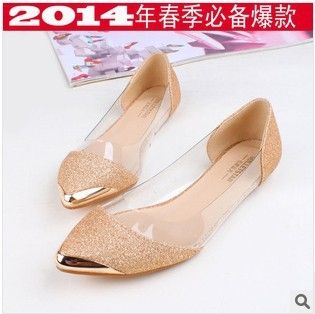 72.00$  Buy now - http://aliyie.shopchina.info/1/go.php?t=1606536514 - 5pcs Free shipping metal point glittering transparent pointy shoes mashup Hepburn wind flat shoes in Europe and America  #bestbuy