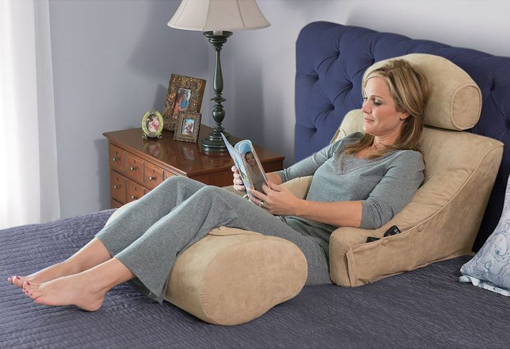 The Superior Comfort Bed Lounger - This is the soft, yet structured lounger that actively supports your body for comfort that is far superior to unforgiving backrests or bunched up pillows, available exclusively from Hammacher Schlemmer in soft microsuede fabric. #GiftsforHer