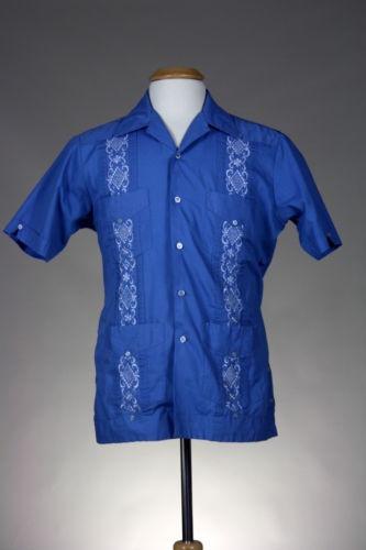 Blue Guayabera Mexican Wedding Cuban Cigar Shirt Eric